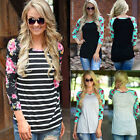Fashion Womens Ladies Casual T Shirt Floral Long Sleeve Shirt Loose Blouse Tops