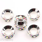 10/50PCS Silver Plated Copper Beads Crystal Loose Spacer Bead For Jewelry Making