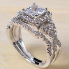 Fashion 925 Sterling Silver Princess White Sapphire Ring Set Wedding Engagement