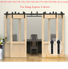 CCJH 5ft-16.5ft Bypass Rustic Sliding Barn Wood Door Hardware Closet for 4 Doors