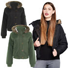 Brave Soul Johnson Womens Padded Faux Fur Hooded Sherpa Fleece MA1 Bomber Jacket