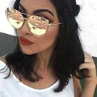 New Oversized Cat Eye Sunglasses Flat Mirrored Lens Metal Frame Women Fashion
