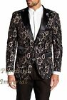 T.R. Premium Men's Slim-Fit Black/Beige Floral Fashionable Blazer