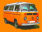VW CAMPER VAN ORANGE FRAMED CANVAS ART PRINT A0 A1 A2