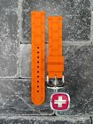 New Wenger Swiss Army Genuine Rubber Strap Orange Diver Watch Band 20mm 19mm