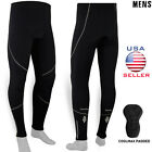 Mens Cycling Tights Winter Thermal Padded Pants Cycle Long Trouser Legging Black