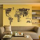 Large World Map Words Removable Wall Stickers Decal Mural Art Office Room Decor