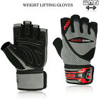 Weight Lifting Gloves Gym Workout Leather Body Building Wrist Support Hybrid