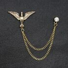 Fashion Men Rhinestone Gold Tie Tack Chain Suit Pin Lapel Brooch Accessories