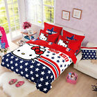 Kitty Star Single Double Queen Size Bed Set Pillowcases Quilt Duvet Cover
