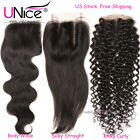 UNice 8A Brazilian Virgin Human Hair Lace Closure 4x4 Free/Middle/Three Part US
