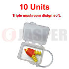Ear Plug 10  50  100 Pair Triple Mushroom + Box + Cord NRR 25dB,  SNR 23dB ANSI