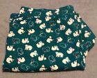 Catherines Womens Cotton Long Green Bear Pajama Pants Sleepwear Loungewear Pants
