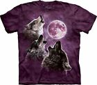 3 Wolf Moon in Purple Wolves T Shirt Adult Unisex Mountain