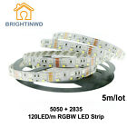 Double Row RGBW LED Strip 5050 RGB + 2835 White/Warm White DC12V 120LED/m 5m/lot