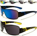NEW SUNGLASSES BLACK DESIGNER MENS LADIES WOMENS WRAP SHIELD MIRRORED BIG UV400
