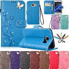 Bling Diamonds Butterfly Leather Card Wallet Stand Case Cover For Samsung Phones