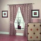 Quintin Curtains Diamonds Natural Beige Terracotta Ready Made Pair Pencil Pleat