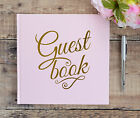 Personalised Wedding Guest Book and Box. Pink Guest Book with Gold Printed Text