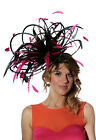 Large Black & Hot Pink Fuschia/Fascinator hat/choose any colour satin/ feathers