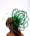 Large Emerald Green Fascinator hat/choose any colour satin/highlight feathers