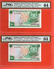 2X 1999 Singapore Orchid $5 Note. Consecutive LKS PMG 64
