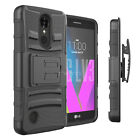 For LG LV3 / MS210 Heavy Duty Rugged Hybrid Stand Case w/ Belt Clip Holster