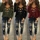 2017 New Women V Neck Lace-up Tie Tops Casual Loose Long Sleeve T Shirt Blouse