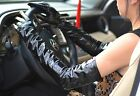 "60cm(23.6"") long real patent leather shiny long opera evening  gloves in black"