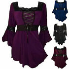 New Womens Vintage Flared Sleeve Lace-up T-Shirt Goth Punk Tops Blouse PLUS 5XL