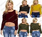 New Ladies Cold Shoulder Cut Out Arms Sleeve Knitted Cropped Jumper Top Sweater