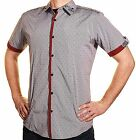 Liquid Mens Fitted Spread Collar Shirt Printed Contrasting Trim Button Front SS