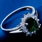 NEW Real White Gold Plated Darker Green Cubic Zirconia Vintage Sunflower Ring