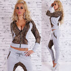 New Women's 2-Piece Full Tracksuit Joggings With Hood Leopard Print Suit HOT