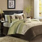 Luxury 7pc Green & Brown Embroidered Floral Comforter Set...