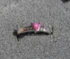4X4 MM HEART LINDE LINDY PINK STAR RUBY CREATED SAPPHIRE 2ND RD PLT .925 SS RING