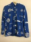 "M.Mac's ""Rock Fish"" 6 Button Down Hoodie in Royal w White - SMALL"