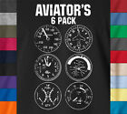AVIATORS 6 PACK Funny Pilot T-Shirt Drone Airplane Army Flying 100% Ringspun Tee