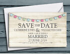 SAVE THE DATE MAGNETS PERSONALISED Rustic Bunting Design Magnets + Envelopes