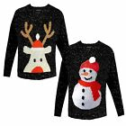 Ladies Rudolph Or Snowman Christmas Jumper Santa Sequin Womens Knitted Sweater