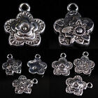 Bulk Sale Lot Tibetan Silver Flower Floral Charm Pendant Bead Fit Chain Findings
