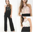 Ladies Womens Floral Embroidered Choker Neck High Waisted Jumpsuit Playsuit