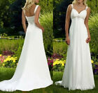 New Stock White Ivory Chiffon Wedding Dress Bridal Gown Size 6 8 10 12 14 16