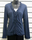 %%SALE%% BOHEMIA SWEDEN NAVY MARL LONG SLEEVED BUTTON CARDIGAN RUFFLE DETAIL NWT