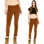 New Womens Slim Skinny Stretch Cords Brown Corduroy Pants Velour Trousers Jeans