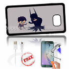 Samsung S6 Edge+ Plus 5.7' Case Cover Tempered Glass Film A4886 Sad Batman