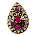 Turkish Jewelry Ruby & Emerald Gemstone Ring In .925 Sterling Silver-TS1099