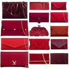 BURGUNDY WINE RED DARK RED RED PROM PARTY EVENING WEDDING BRIDAL CLUTCH HANDBAGS