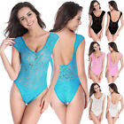 Women Swimwear Monokini Transparent Lace One Piece Beachwear Double Shoulders