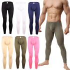 Mens Smooth Bulge Pouch Long Johns Tight Fit Pants Basic Underpants Underwear
